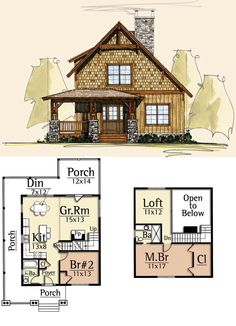 This is great but washer and dryer would have to go in garage/basement Moss Creek House Plans - Settlers Forge :: 1240 sq. Log Cabin House Plans, Sims House Plans, Tiny House Cabin, Dream House Plans, Tiny House Design, Cabin Homes, Small House Plans, Cottage Homes, Tiny Homes