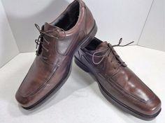 JOHNSTON MURPHY Size 13 M Brown Leather Mens Shoe Norvell Moc Toe Lace Oxford  #JohnstonMurphy #Oxfords