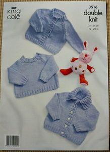 Babies Round Neck Jumper, Jacket & Cardigan DK Knitting Pattern