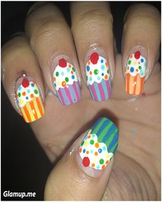 CUP CAKE NAIL ART TUTORIAL STEP BY STEP