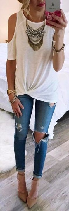 #summer #outfits White Cold Shoulder Top Destroyed Skinny Jeans