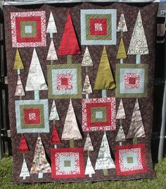 3D CHRISTMAS TREES QUILT - Made by Kim Marsh - quilted by DLQ by DLQuilts, via Flickr