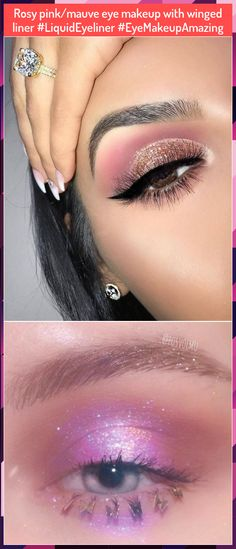 Rosy pink/mauve eye makeup with winged liner Gold Eye Makeup, Rosy Pink, Gold Eyes, Winged Liner, Eye Make Up, Mauve, Wings, Amazing, Earrings
