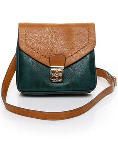 teal and camel over-the-shoulder bag