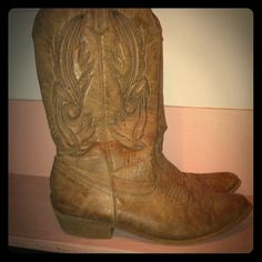 Cowgirl boots size 9 In good condition coconut  Shoes Combat & Moto Boots