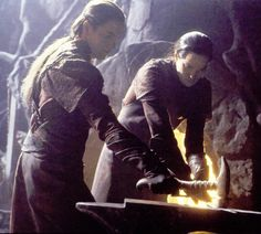 """""""Elladan and Elrohir? The sons of Elrond and older brothers to Arwen."""" The twins reforging the sword of kings for their little brother."""