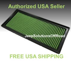 Performance Green Air Filter REUSABLE 2026 Jeep Wrangler TJ 1997-2006 K&N #GreenFilterUSA