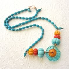 Beaded necklace colourful summer necklace by THEAjewellery on Etsy