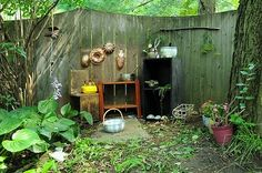 backyard kitchen for kiddies. Awesome ideas from http://progressiveearlychildhoodeducation.blogspot.ca/2010/08/mud-kitchen-for-our-muddirt-patch-part.html