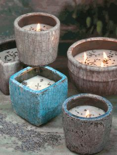 Restoration Pottery Collection of the Swan Creek Candle Co., soy candles, no lead, clean burning.