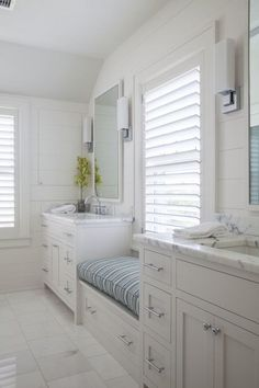 Bathroom with Window Seat, Cottage, Bathroom, Duffy Design Group