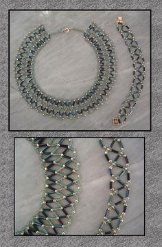Maudra – Reincarnate by Linhorra on deviantART - schmuck ketten Beaded Necklace Patterns, Chevron Necklace, Beaded Choker, Bracelet Patterns, Beaded Bracelets, Necklaces, Seed Bead Jewelry, Bead Jewellery, Wire Jewelry