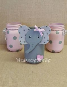 Original Design Set of 3 Cute Elephant Pink/ Grey Mason Jar Centerpieces,Elephant Baby Shower Decor,Cute Elephant Room Decor,Elephant Party by TheFuzzyFirefly on Etsy https://www.etsy.com/listing/544848703/original-design-set-of-3-cute-elephant #babyshowerniña