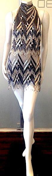 Bob Mackie - Créateur de Mode - Robe de Soirée 'Mini' - Coiffe Cagoule Assortie - Perles