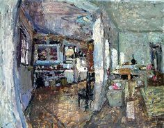 Living Room, Wide Angle and Kitchen by Mitchell Long, 22 x 28, oil on paper.