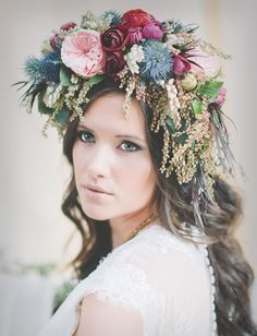 love this whimsical flower hair crown with thistles + roses