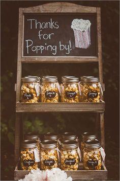 Favors & Gifts 20 Best wedding favors, mason jar popcorn wedding favor, diy guest gifts for rustic country wedding Popcorn Wedding Favors, Edible Wedding Favors, Wedding Favors For Guests, Unique Wedding Favors, Unique Weddings, Popcorn Favors, Mason Jar Wedding Favors, Country Weddings, Popcorn Bar