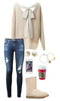 """""""It's a quarter after one, I'm all alone and I need you now"""" by toonceyb ❤ liked on Polyvore featuring Relaxfeel, AG Adriano Goldschmied, UGG Australia, Carolee, Tiffany & Co., Agent 18 and Alex and Ani"""