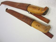 Rapala Finland J Marttiini Fishing Knives Wood Handles Leather Sheat