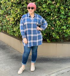 Plaid tunic shirt, cuff jeans and sneakers | For more style inspiration visit 40plusstyle.com