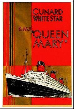 1930-Inglaterra-Queen-Mary-Ocean-Liner-Arte-viajes-Publicidad-Cartel-impresion