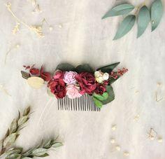 Autumn burgundy flower hair comb Greenery wedding hair piece Burgundy Flowers, Flowers In Hair, Flower Hair, Hair Comb Wedding, Wedding Hair Pieces, Flower Crown Wedding, Wedding Flowers, Burgendy Hair, Dark Green Hair