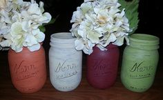 Painted Distressed Mason Jars 1 count by MrsChicBoutique on Etsy, $4.50