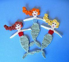 Ravelry: Mermaid Applique Crochet Pattern pattern by GoldenLucyCrafts (on Etsy) Crochet Gifts, Cute Crochet, Crochet For Kids, Crochet Dolls, Crochet Baby, Crochet Motifs, Crochet Flower Patterns, Freeform Crochet, Crochet Flowers