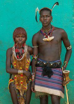 Maze Hamar Tribe Whipper And Girl, Turmi, Omo Valley, Ethiopia