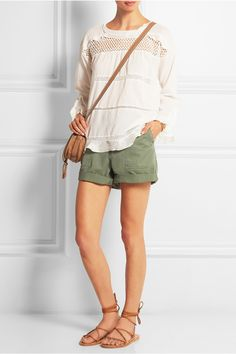 Madewell | Cotton and linen-blend twill shorts | NET-A-PORTER.COM