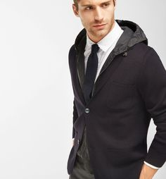 KNIT BLAZER WITH DETACHABLE HOOD - MEN - Massimo Dutti