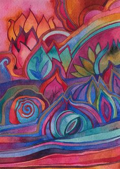 Title: Dreamscape 2 Dimensions 5 x 7 inches (will fit standard frame) Media: watercolor on paper Year : 2015  Delicate and fantastical floral and pod