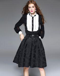 #AdoreWe #VIPme Blouses & Shirts - mojaser Black Long Sleeve Paneled Bodysuit Blouse - AdoreWe.com