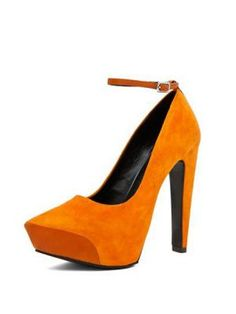 Yellow Pointed Rough Heel Shoes