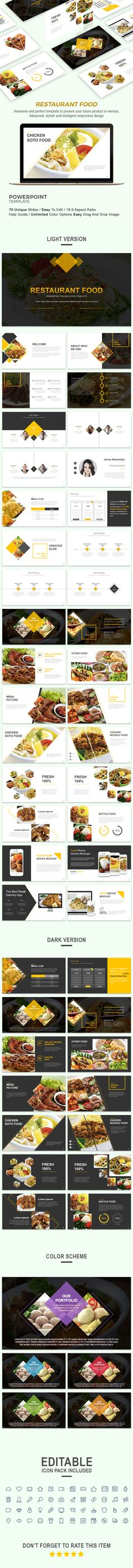 Restaurant Food Presentation Template — Powerpoint PPTX #statistics #social media • Download ➝ https://graphicriver.net/item/restaurant-food-presentation-template/19247757?ref=pxcr
