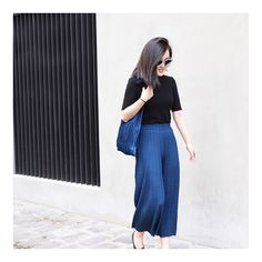 Top pick from last week - Navy Pleated Culottes | lmt stock available for only $59.95 #blue #summer #pleated #culottes #culottepants