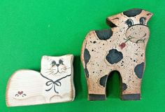 Folk Art by Beth 2 Wooden Shelf Sitters Cow with Rose and White Cat #Beth