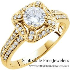 14k yellow gold #vintageinspired engagement ring with bead detailing...BEWITCHING!!!