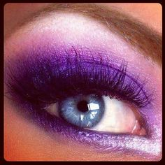 Bright purple eye make up. Just in case I go to another party or I'm Barbie for Halloween again Pretty Makeup, Love Makeup, Makeup Tips, Makeup Looks, Hair Makeup, Makeup Ideas, Makeup Geek, Makeup Designs, Makeup Style