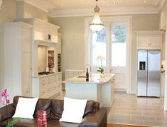 """Shaded White"" classical kitchen design near Dalkey, Ireland by… Kitchen Cabinet Colors, White Kitchen Cabinets, Painting Kitchen Cabinets, Kitchen Paint, Kitchen Colors, Kitchen Ideas, Kitchen Planning, Kitchen Reno, Kitchen Inspiration"