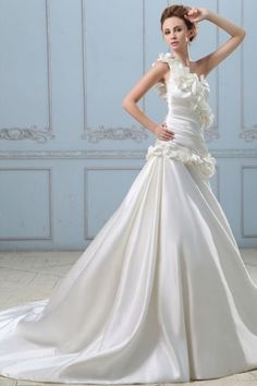 Exquisites Ein-Schulter Perlen Blumen gefaltetes Strand-Brautkleid aus Satin