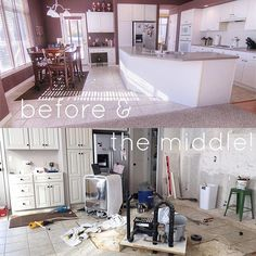"""Steps away from my """"dressed"""" couch I showed you last week is THIS! Kitchen chaos!!! We intentionally (sounds like such a BAD idea right now) bought a house that was a """"fixer upper"""". We wanted to renovated with our own style.  I am now two weeks into not having a kitchen sink or flooring,etc... Eric has been fabulous at figuring it all out with a little help from YouTube videos but we are officially stuck on some plumbing and electrical issues.  The chaos of the moment seems to trump the… Sounds Like, Kitchen Sink, Fixer Upper, Plumbing, I Dress, Middle, Meet, Couch, In This Moment"""