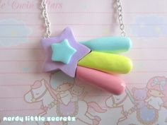 Fairy Kei Shooting Star Pastel Necklace by NerdyLittleSecrets, $9.00