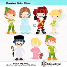 Neverland Digital Clipart / Cute Peter Digital Clipart For Personal and Commercial Use / INSTANT DOWNLOAD on Etsy, $5.00