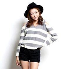 NORANGGOMUSIN  Cut-Away Shoulder Stripe Knit Top