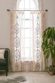 Slide View: 1: Jazmin Embroidered Curtain