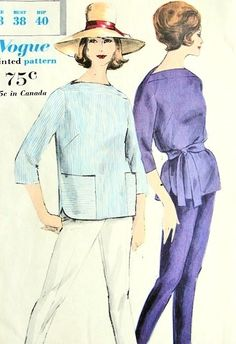 1960s Tunic Blouse and Skinny Pants or Capri Pattern Vogue 9994 Ultra Slim Marilyn Monroe Style Pants,Bateau Neck Overblouse With Sash Bust 38 Vintage Sewing Pattern UNCUT