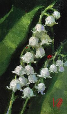 "Daily Paintworks - ""Lily of the Valley"" - Original Fine Art for Sale - © Krista Eaton"