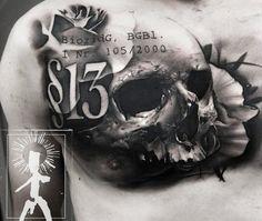 Realistic Skull Tattoo by Neon Judas | Tattoo No. 12059