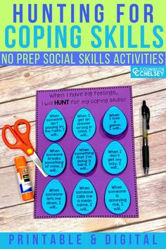 These fun Easter themed coping skills activities are perfect for your Spring school counseling lessons. Elementary students will learn about coping skills they can use to handle emotions like anger, anxiety and more. They will love the fun Easter theme in these printable and digital activities. These are the perfect way to add spring fun to your individual, small group or classroom school counseling lessons. Coping Skills Activities, Emotions Activities, Social Skills Lessons, Spring School, Feelings And Emotions, School Counseling, Student Learning, Small Groups, Anxiety